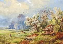 Regis Gignoux 3 Watercolor Paintings Europe