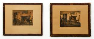 Pair Wallace Nutting Signed Title Color Photographs