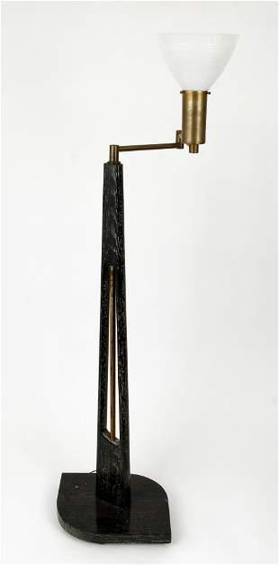 Mid Century Modern Wood Brass Floor Lamp