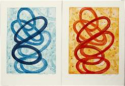 2 Francis Dosne 2000 etchings Talk In Circles