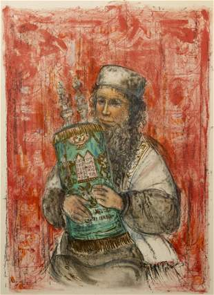 Edna Hibel The Rabbi Signed Lithograph