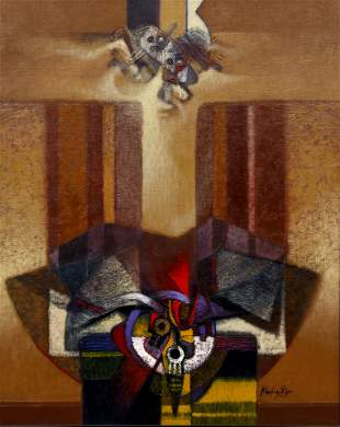 Martinez Rojas 1990 acrylic painting Surreal Figures