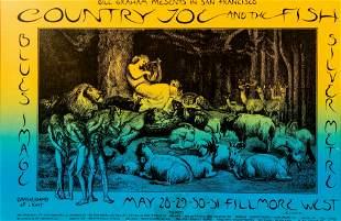 David Singer Rock Poster Country Joe Fillmore