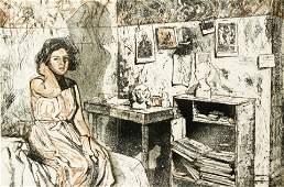 Ruth Weisberg 1989 etching Giacometti