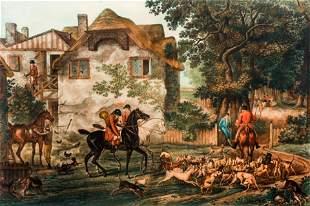 Carle Vernet framed hand colored Hunt engraving