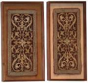 5: Two 17th century embroidered velvet altar panels