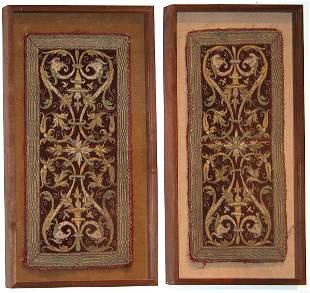 Two 17th century embroidered velvet altar panels