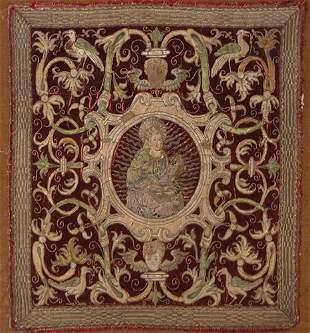 Three 17th century embroidered velvet altar panels