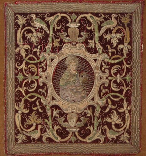 6: Three 17th century embroidered velvet altar panels