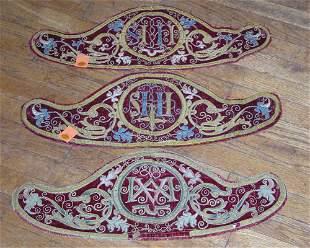 Four 17th century embroidered velvet altar panels