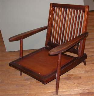 Early Nakashima Lounge Chair with Arms turned legs