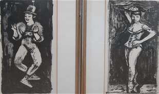 Arbit Blatas, The Mime and Zizi, two prints