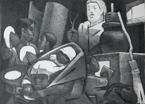 96: Jean Charlot original lithograph, Figures, 1951