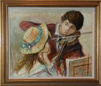 174: Jacques Lalande, Violinist with Young Girl, oil