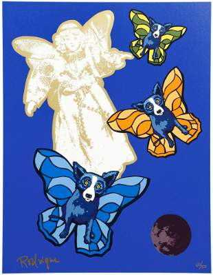 George Rodrigue Blue Dog Angel Baby Signed Screenprint