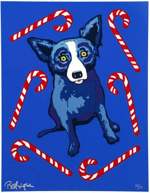 George Rodrigue Blue Dog and Candy Canes Signed