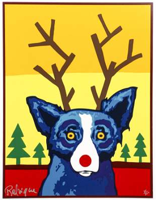 George Rodrigue Truly Rudy Blue Dog Signed Screenprint