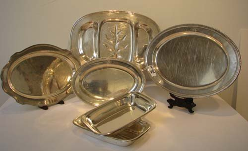 1: Assorted Sterling Trays and Platters