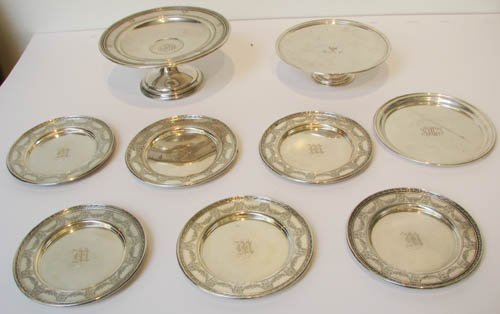 9: 9 pcs Assorted Sterling Dishes