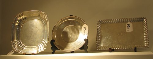 10: 3 Assorted Sterling Trays