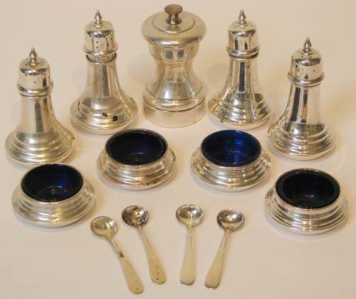 15: 2 Pairs Cobalt and Sterling Salt Cellars, various o