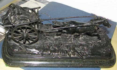 17: European/Russian Bronze sculpture Couple inCarriage
