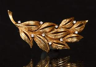 18K Diamond Leaf Pin