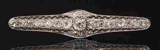 Ladies Diamond Antique Filigree Pin 14K
