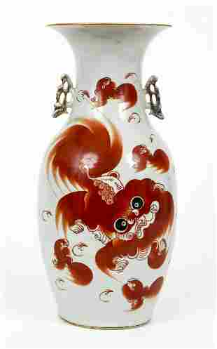 Antique Chinese Red Dragon Porcelain Vase