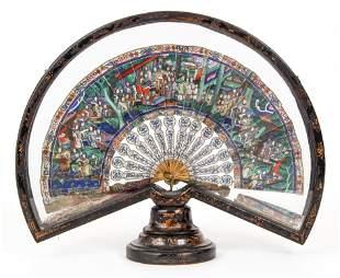 19th Century Chinese Silk Fan in case