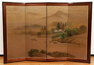 Chinese Four Panel Folding Screen with Fishing Scene