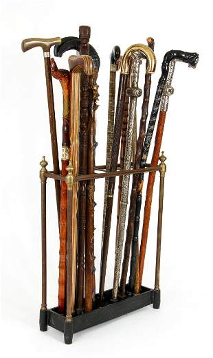 Collection of 15 Walking Sticks Canes and Stand