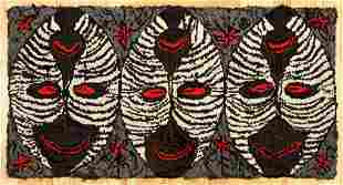 Three Masks Hooked Rug by Alice Black