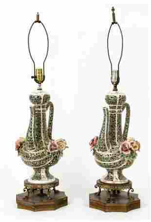 Pair Capodimonte Style Lamps Tea Kettle Form