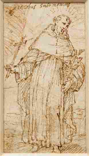 16th Century Italian drawing Standing Monk or Saint