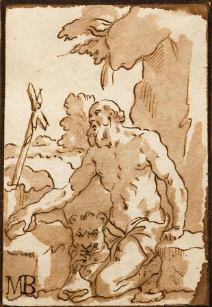 16th Century Italian School drawing St. Jerome