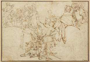 Late 16th or Early 17th C. Italian drawing Crucifixion