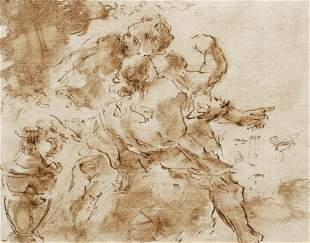 17th Century Italian drawing Aeneas Departing from Dido