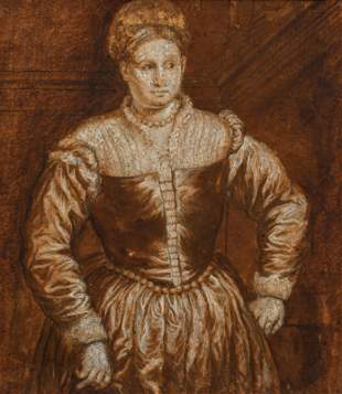 After Paris Bordone Chalk and wash drawing Medici