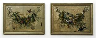 Pair Bob Christian trompe l'oeil Decorative Swags