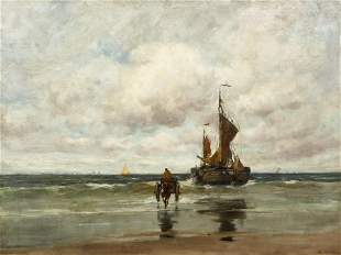 Charles Paul Gruppe Oil on Canvas Seascape Sailboat