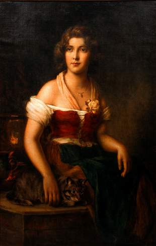 Mathias Schmid oil Country Maiden with Her Cat