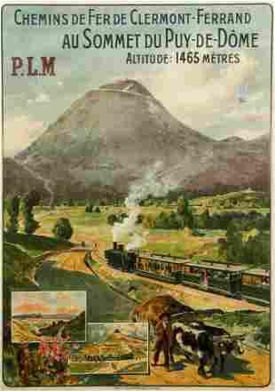 Louis Tauzin Vintage Railroad Travel Poster for PLM