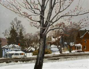 Ron Donoughe 2010 oil on board Red Buds