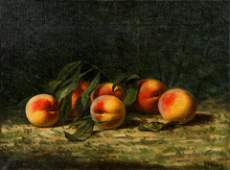 A. F. King Still Life with Peaches Oil Painting