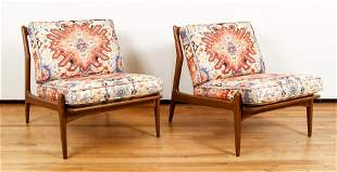 Pair Mid Century Modern Danish Lounge Chairs by Selig