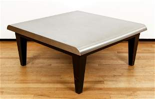 Metal Topped Wood Square Coffee Table