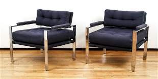 Milo Baughman style Chrome & Upholstered Lounge Chairs