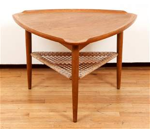 Danish Mid Century Selig Triangle Table Rattan Shelf