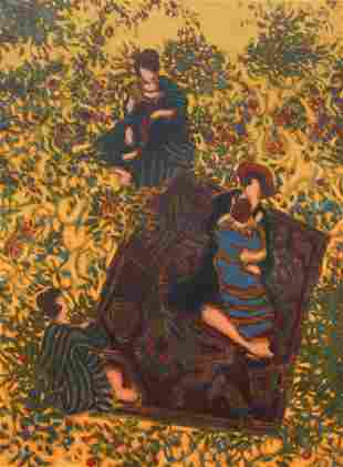 William Anzalone painting Woman on a Carpet